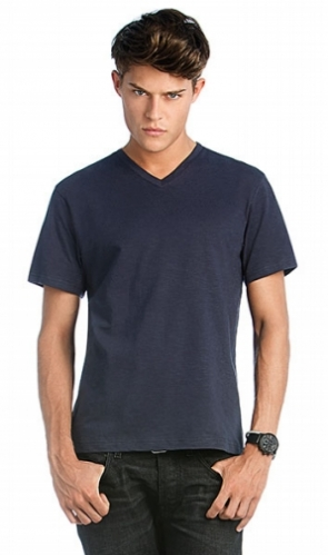 Men V-Neck Slub
