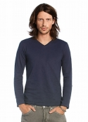 Men V-Neck Slub LS